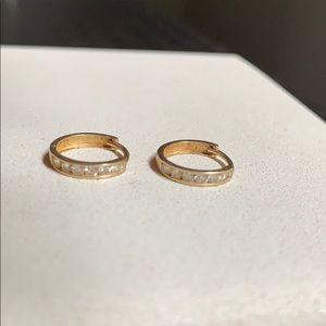 Gold Small Hoop Earrings w/ Diamonds